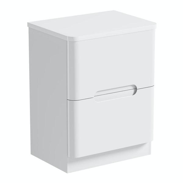 Mode Ellis white vanity drawer unit and countertop 600mm