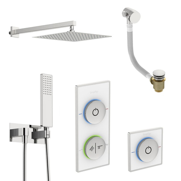 SmarTap white smart shower system with complete square wall shower outlet bath set