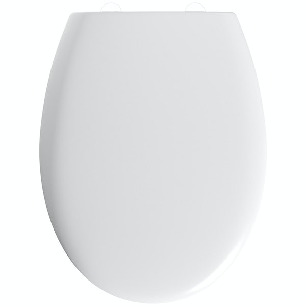 Universal thermoset toilet seat with stainless steel hinge