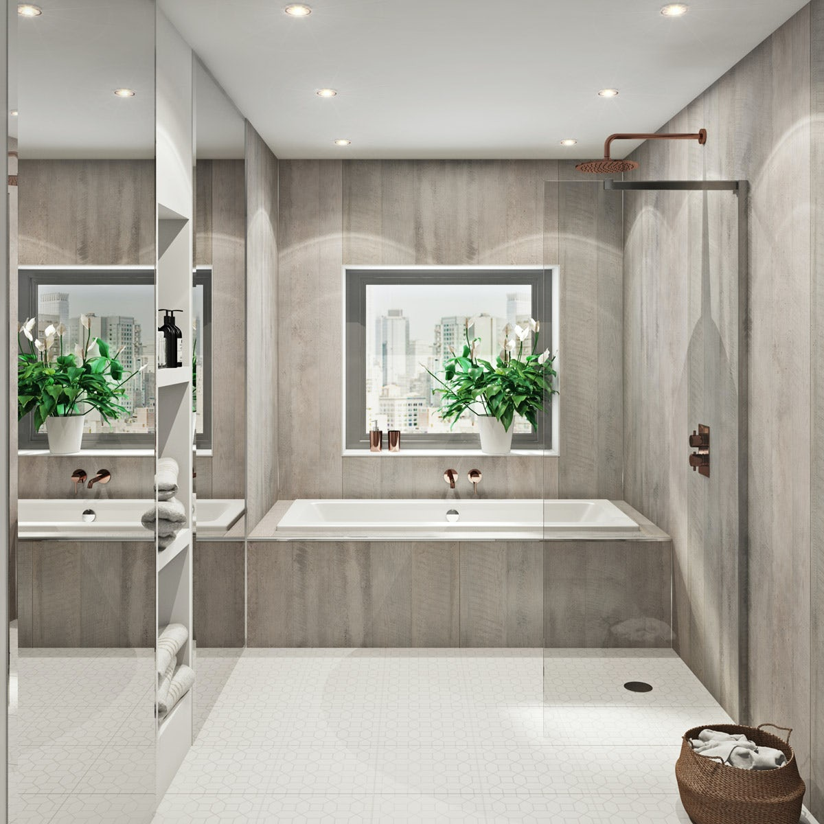multipanel linda barker concrete formwood hydrolock shower. Black Bedroom Furniture Sets. Home Design Ideas