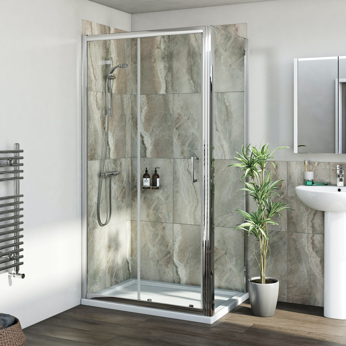 Mira Coda EV shower system and 6mm sliding door with stone shower tray and waste 1000 x 700