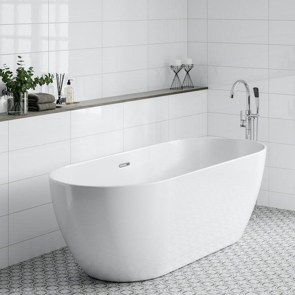 Pure white flat gloss wall tile 200mm x 600mm