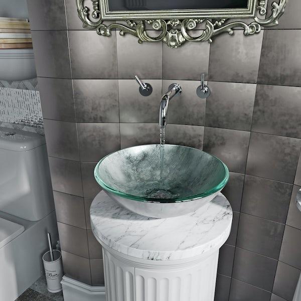 Mode Mackintosh silver foil glass countertop basin