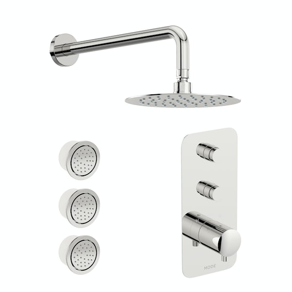 Mode Foster thermostatic push button shower set with wall arm and body jets