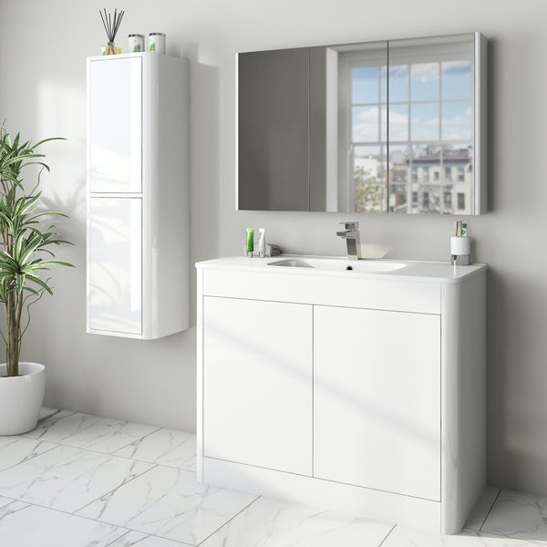 Mode Carter white furniture package with floorstanding vanity unit 1000mm