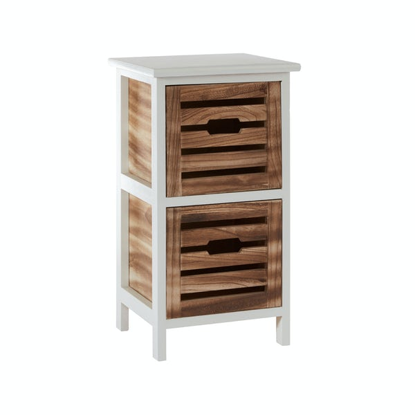 Portsmouth wooden 2 drawer storage unit in white & natural finish