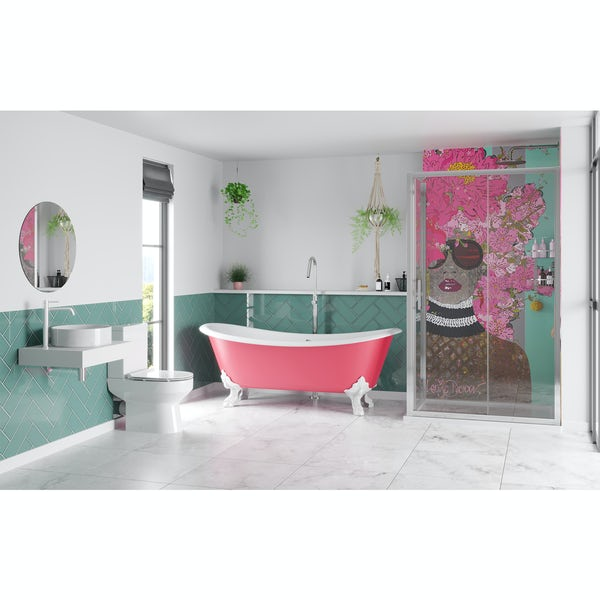 Louise Dear Kiss Kiss Bam Bam Hot Pink bathroom suite with freestanding bath and enclosure