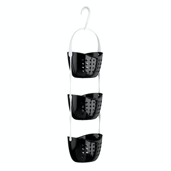 Black 3 tier hanging shower caddy