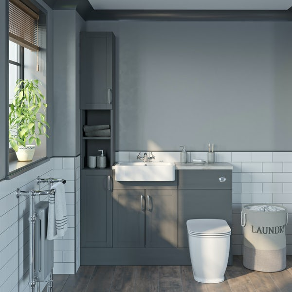 The Bath Co. Newbury dusk grey tall fitted furniture combination with beige worktop