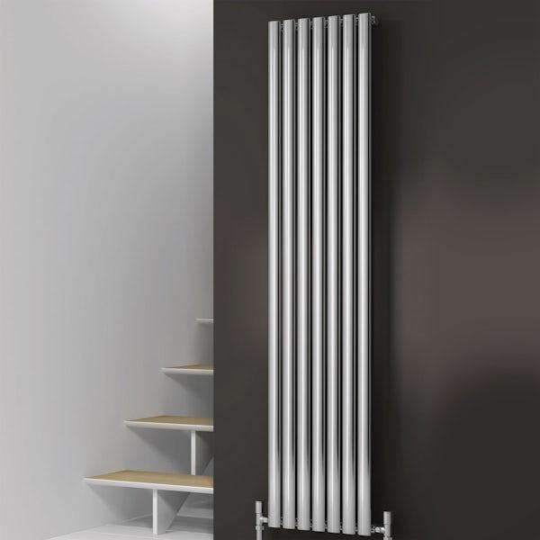 Reina Neva chrome single vertical steel designer radiator