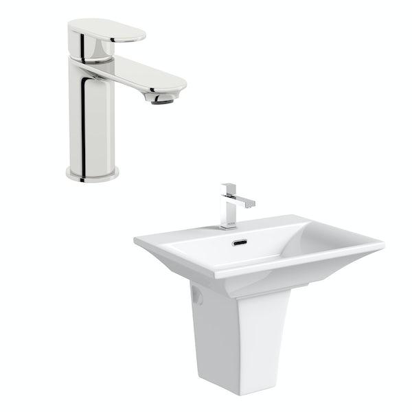 Mode Austin 1 tap hole semi pedestal basin 600mm with tap