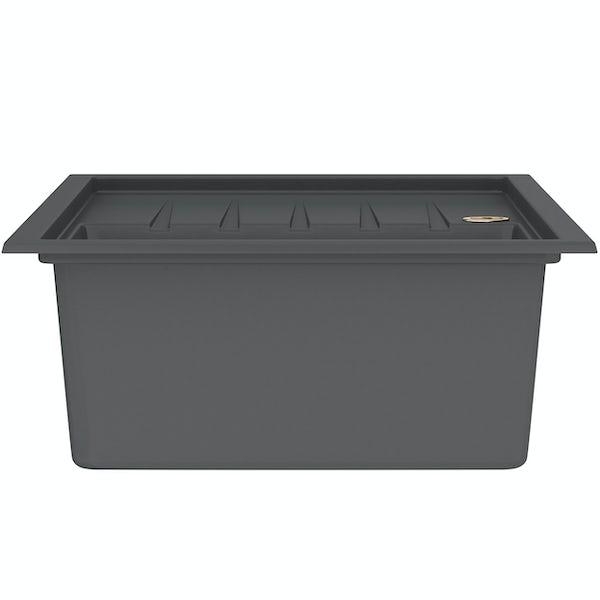 Bristan Gallery quartz midnight grey easyfit kitchen sink 1.0 bowl with left drainer