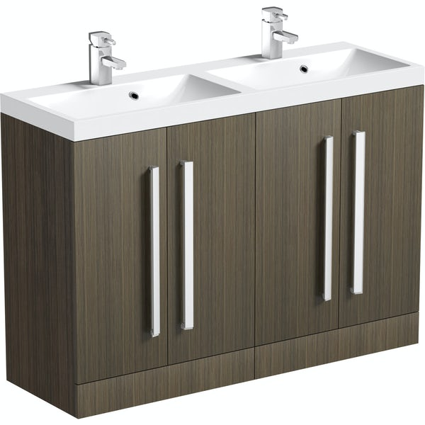 Orchard Wye walnut double basin unit 1200mm