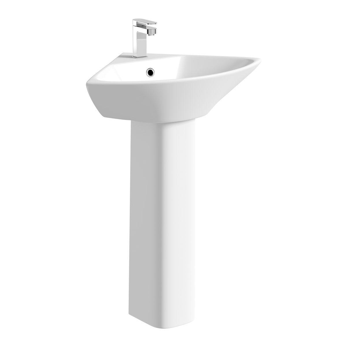 Compact corner 1 tap hole full pedestal basin 450mm