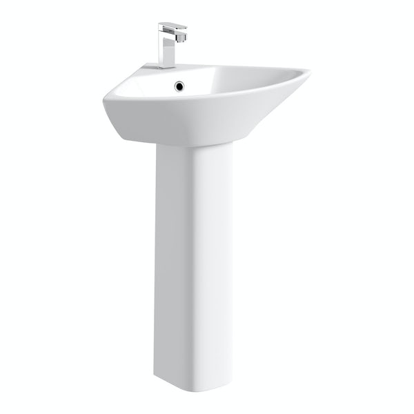 Compact corner 1 tap hole full pedestal basin 450mm