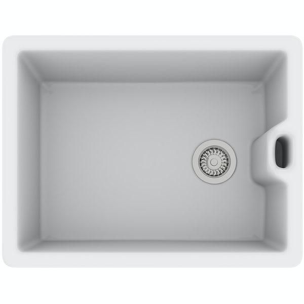 Rangemaster Classic Belfast 1.0 bowl ceramic kitchen sink and Schon traditional kitchen tap