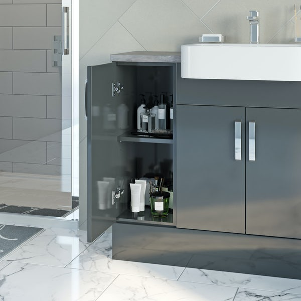 Mode Nouvel gloss grey small fitted furniture & mirror combination with mineral grey worktop