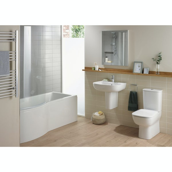 Ideal Standard Studio Echo right hand shower bath suite with semi pedestal basin 1700 x 800