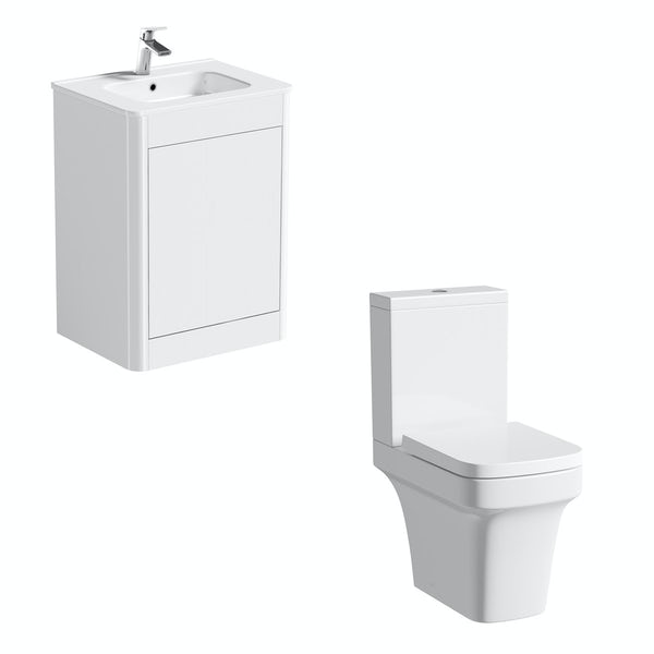 Mode Carter close coupled toilet and ice white vanity unit suite 600mm