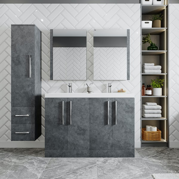 Orchard Kemp riven grey floorstanding double vanity unit and basin 1200mm