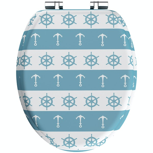 Blue nautical acrylic toilet seat with soft close quick release hinge