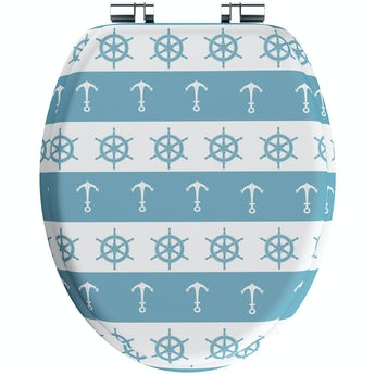 Accents Blue nautical acrylic toilet seat with soft close hinge