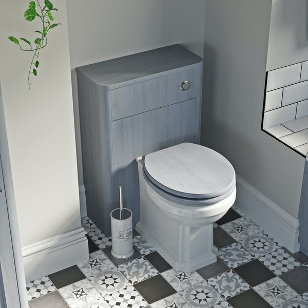 The Bath Co. Traditional back to wall toilet with Beaumont powder blue wooden toilet seat