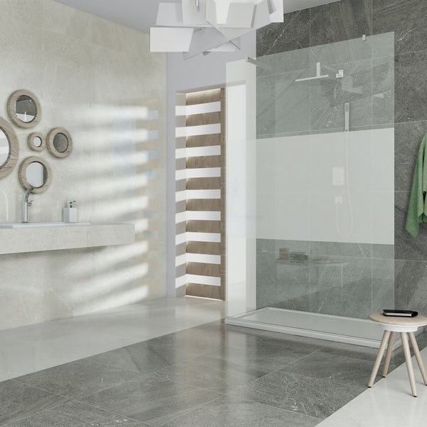 Alden lux white stone effect gloss wall and floor tile 600mm x 600mm