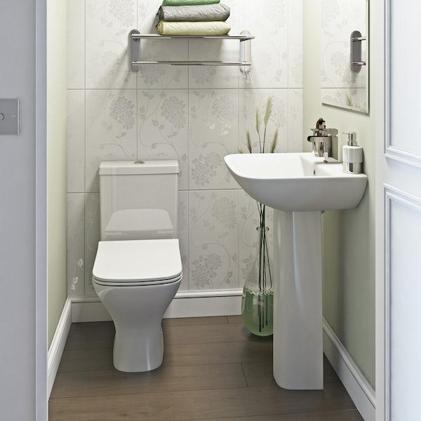 Orchard Derwent square complete cloakroom suite with full pedestal basin 550mm