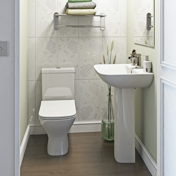 Orchard Derwent square complete cloakroom suite with full pedestal basin 550mm