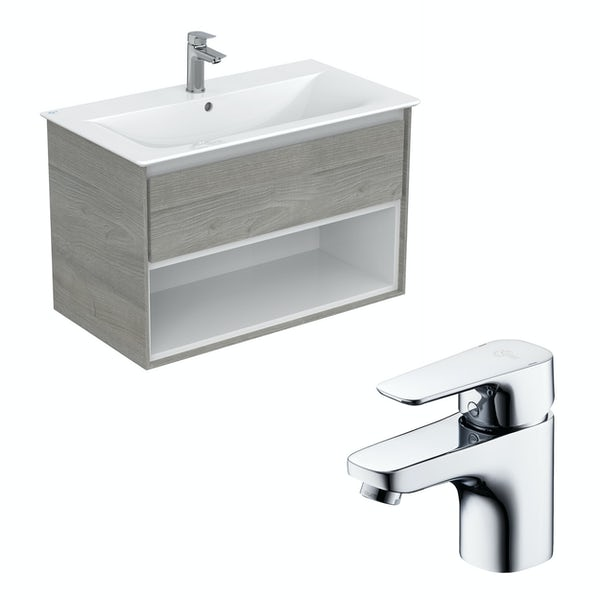 Ideal Standard Concept Air wood light grey and matt white open wall hung vanity unit and basin 800mm with free tap