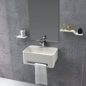 Mode Carpi 1 tap hole solid surface stone resin wall hung basin 500mm with waste and chrome trap