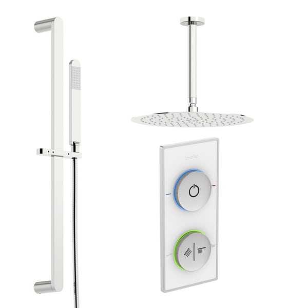 SmarTap white smart shower system with round slider rail and ceiling shower set
