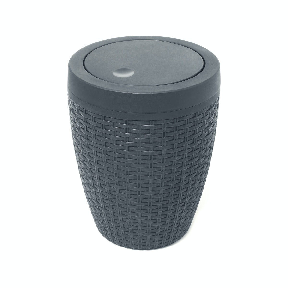 Addis Grey Faux Rattan Round Bathroom Bin