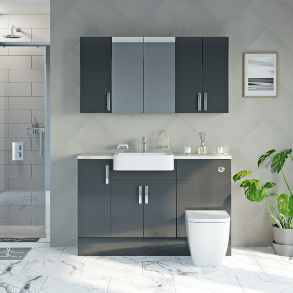 Mode Nouvel gloss grey small fitted furniture & storage combination with beige worktop