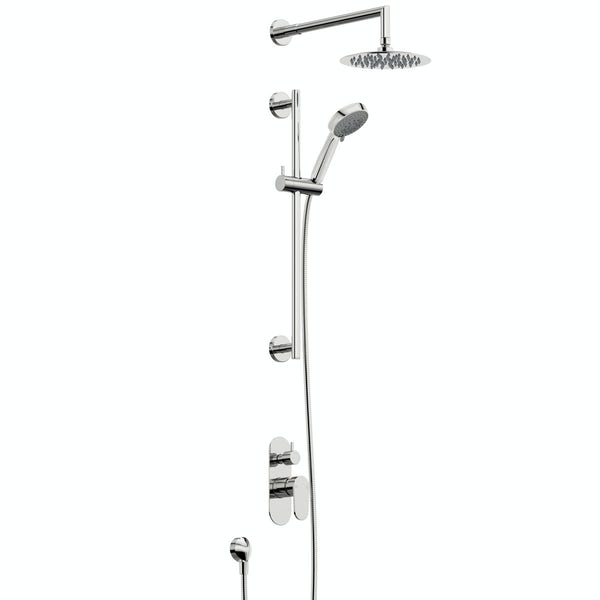 Orchard Round concealed manual mixer shower with 390mm wall arm and slider rail