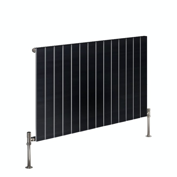 Reina Flat anthracite grey horizontal single panel steel designer radiator