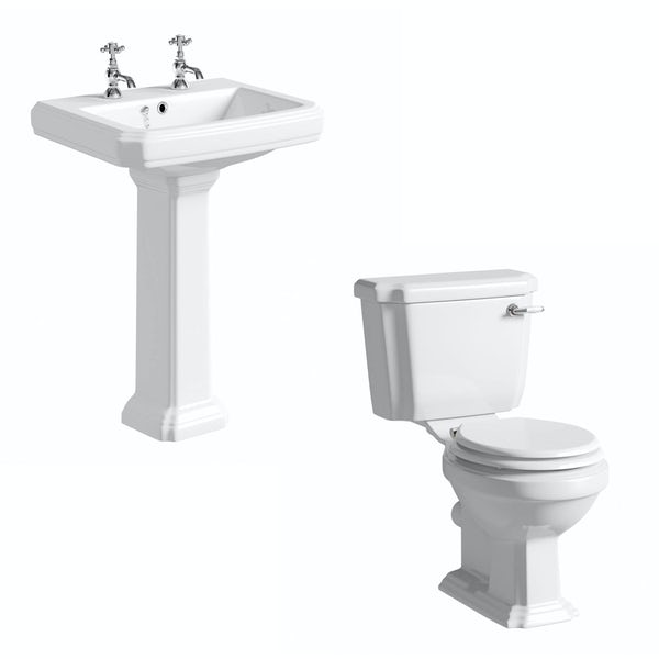 The Bath Co. Dulwich cloakroom suite with white seat and full pedestal basin 585mm