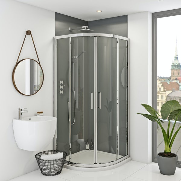 Zenolite plus ash acrylic shower wall panel corner installation pack 1220 x 1220