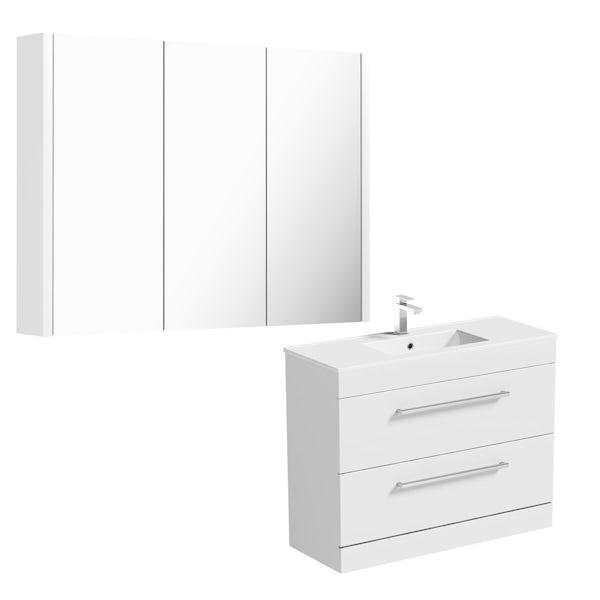 Orchard Derwent white floor drawer unit 1000mm and mirror