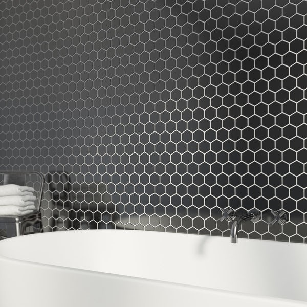 British Ceramic Tile Mosaic Hex Black Gloss Tile 300mm X