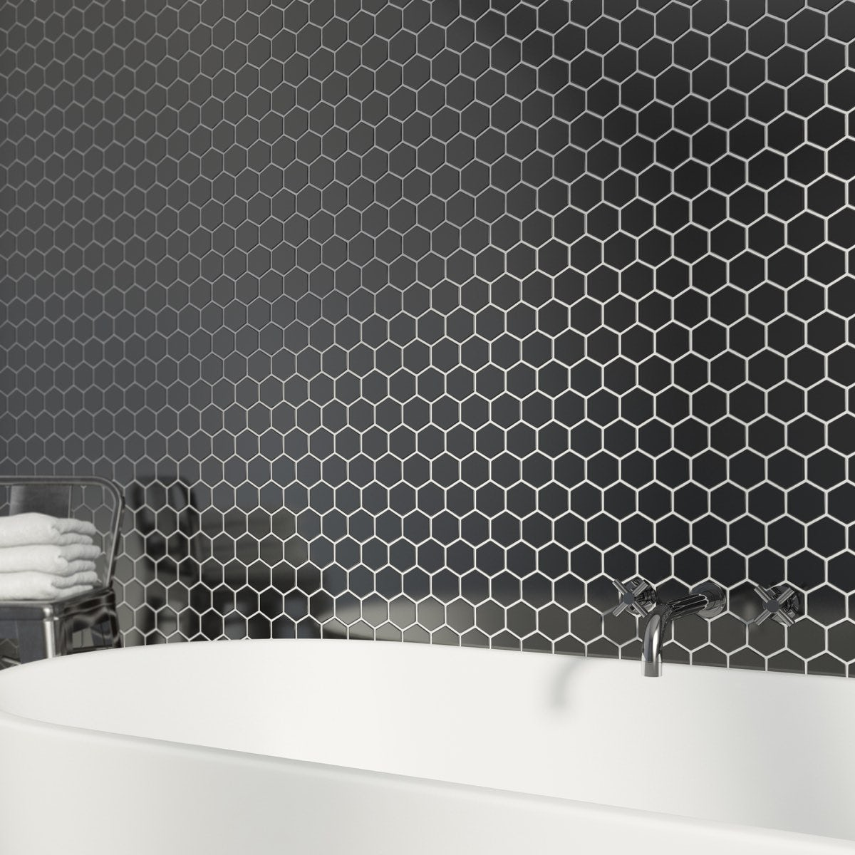 British Ceramic Tile Mosaic Hex Black Gloss Tile 300mm X 300mm   1 Sheet