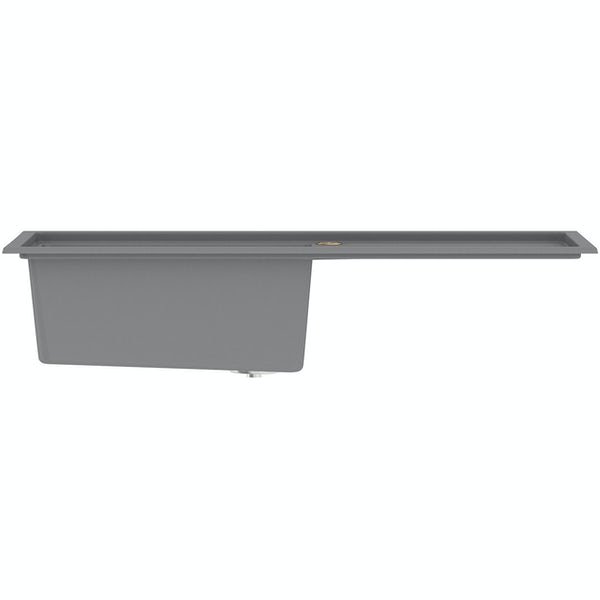 Bristan Gallery quartz dawn grey easyfit kitchen sink 1.0 bowl with right drainer