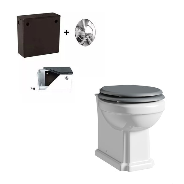 The Bath Co. Dulwich back to wall toilet with stone grey soft close seat and concealed cistern