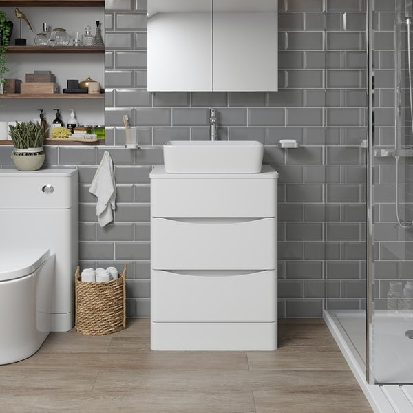 Mode Adler white 600mm floorstanding vanity unit and countertop