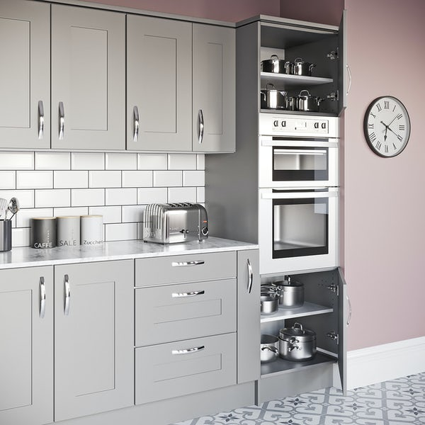 Schon New England light grey shaker 600mm double oven housing unit