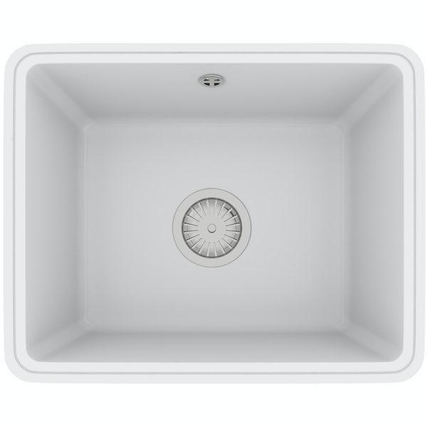 Tuscan Poppi ceramic 1.0 bowl polar white undermount kitchen sink