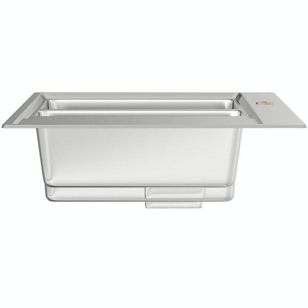 Bristan Ingot stainless steel easyfit kitchen sink 1.5 bowl with right drainer