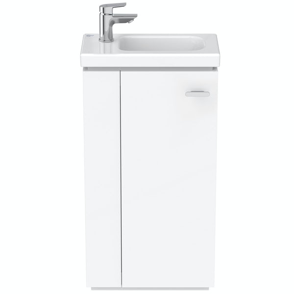 Ideal Standard Concept Space white floor standing vanity unit and left handed basin 450mm
