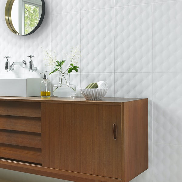 Ted Baker TacTile white structured matt wall tile 298mm x 498mm